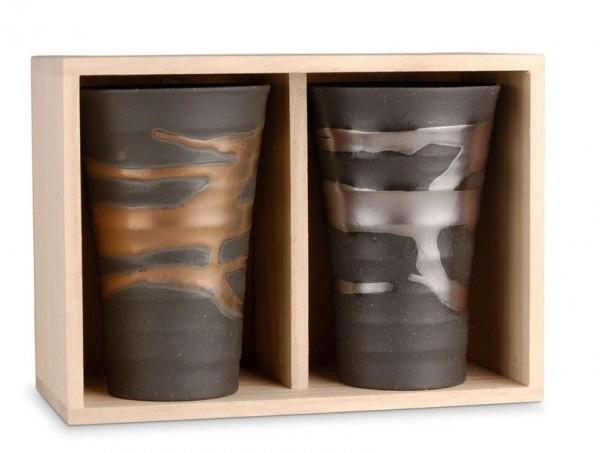 2 jap. Teecups in einer Holzbox