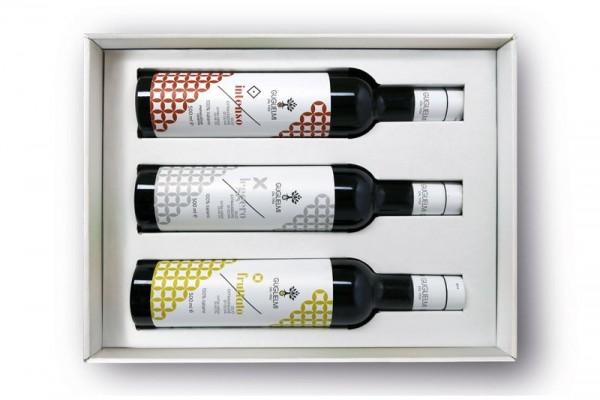 Olivenöl-Geschenkset 'Tris Monogram' 3x500ml