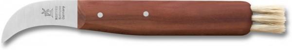 Pilzpflückmesser Pflaumenholz 46 mm Klingenlänge rostfrei mit Lederhülle